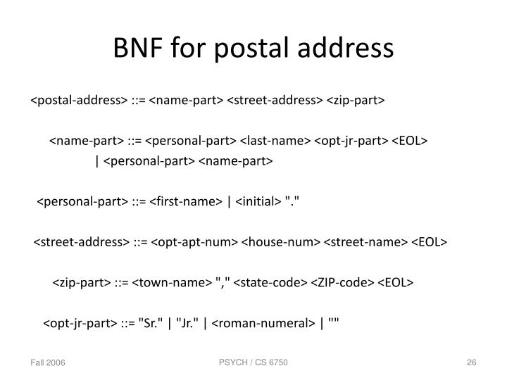 BNF for postal address
