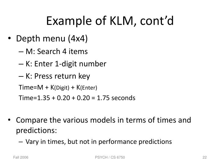 Example of KLM, cont'd
