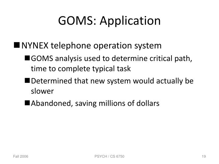 GOMS: Application