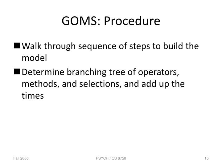 GOMS: Procedure