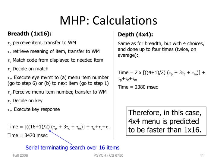 MHP: Calculations