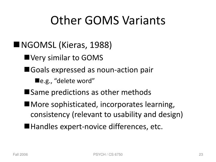 Other GOMS Variants
