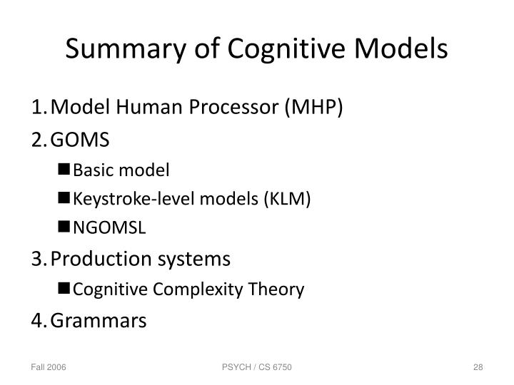 Summary of Cognitive Models