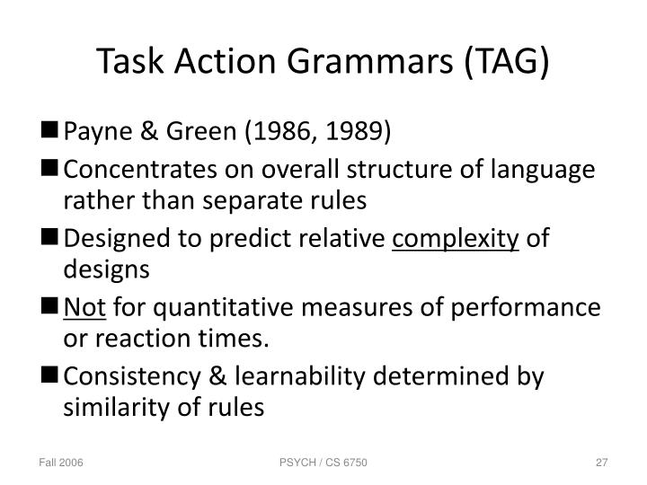Task Action Grammars (TAG)