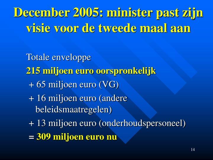 December 2005: minister past zijn visie voor de tweede maal aan