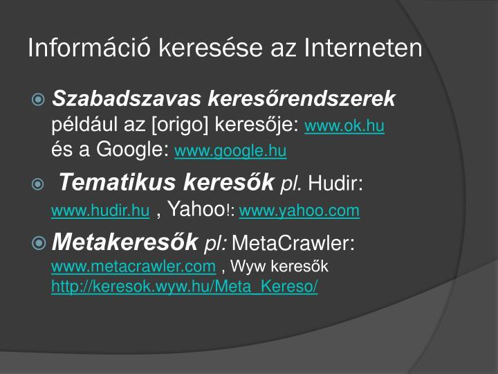 Információ keresése az Interneten