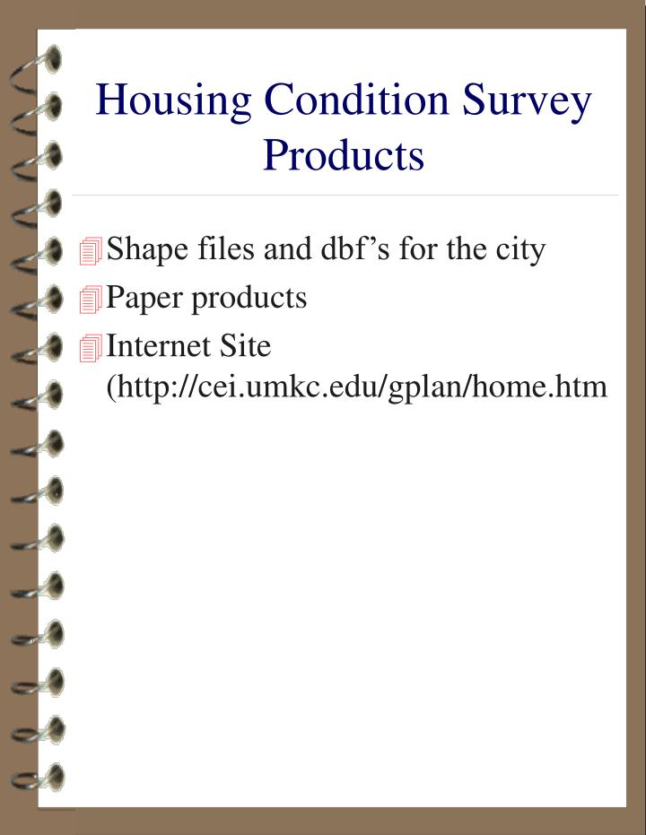 Housing Condition Survey Products