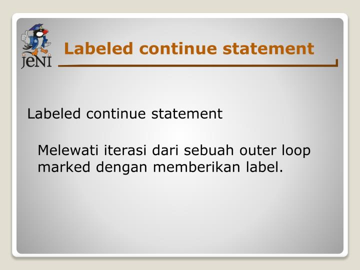 Labeled continue statement