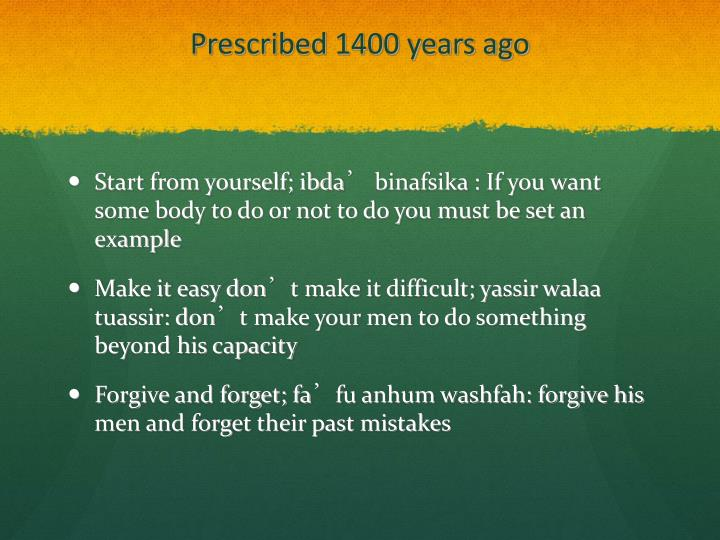 Prescribed 1400 years ago