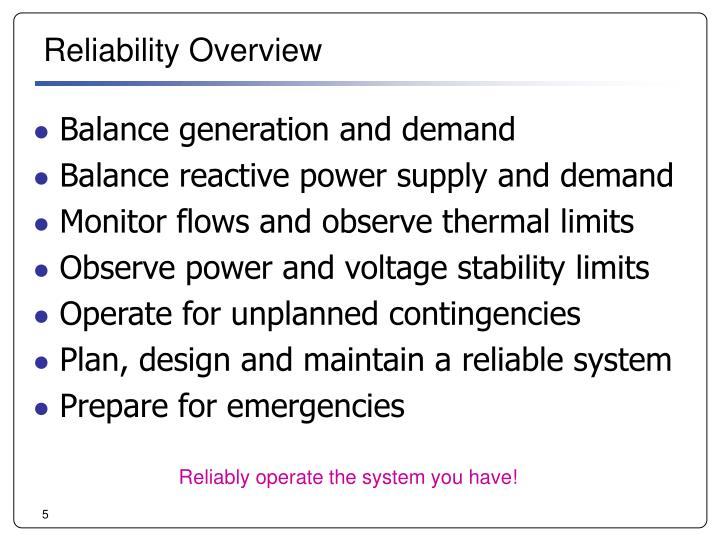 Reliability Overview
