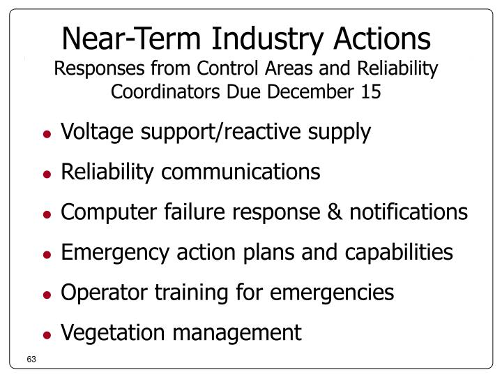 Near-Term Industry Actions