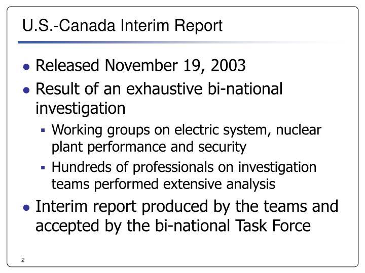U s canada interim report