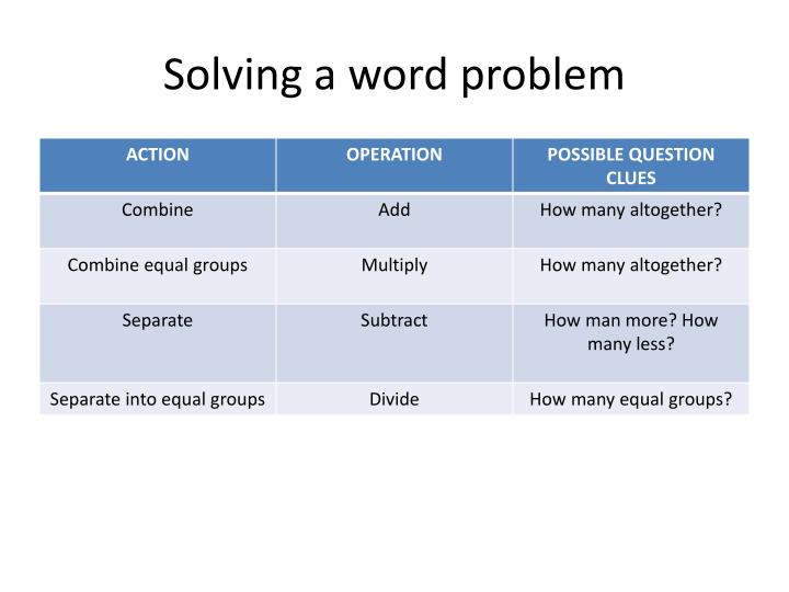 Solving a word problem