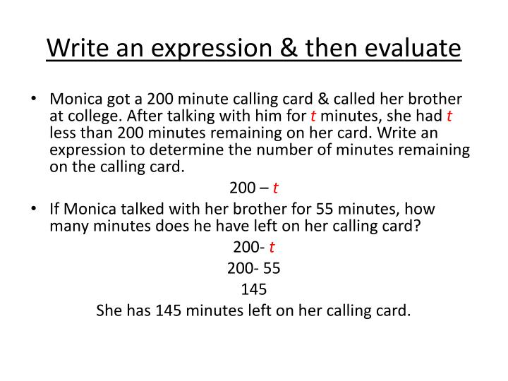 Write an expression & then evaluate