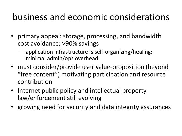 business and economic considerations