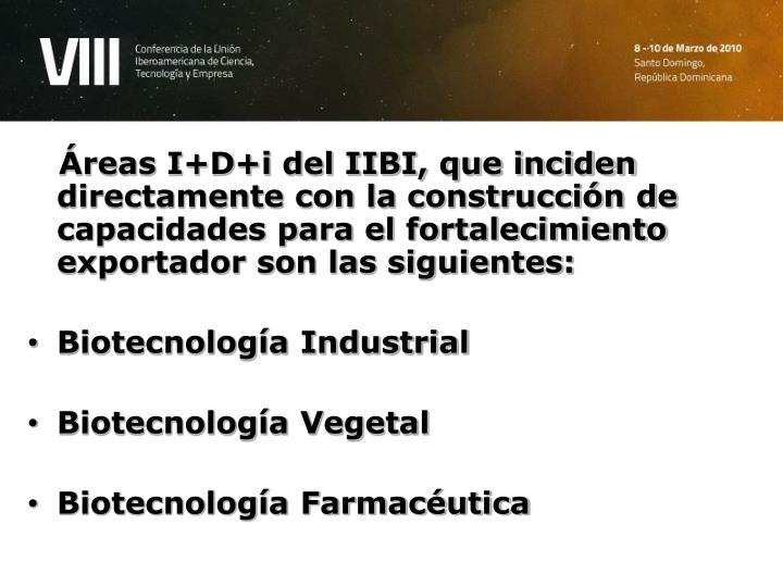 Áreas I+D+i del IIBI, que inciden directamente con la construcción de capacidades para el fortalecimiento exportador son las siguientes: