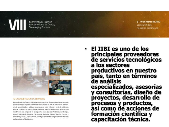 El IIBI es uno de los principales proveedores de servicios tecnológicos a los sectores productivos en nuestro país, tanto en términos de análisis especializados, asesorías y consultorías, diseño de proyectos, desarrollo de procesos y productos, así como de acciones de formación científica y capacitación técnica.