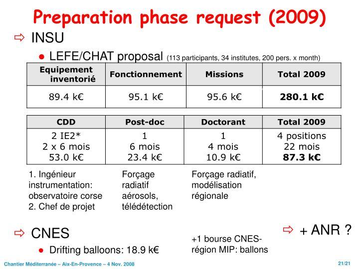 Preparation phase request (2009)