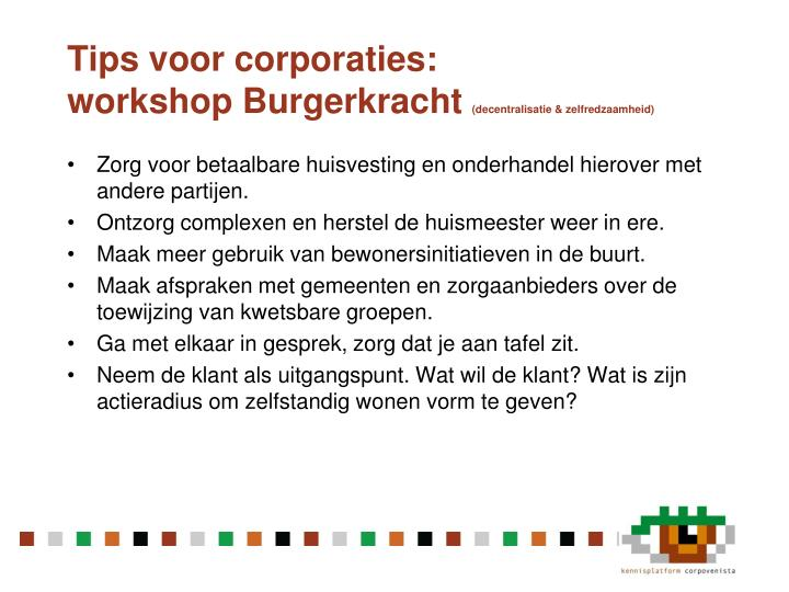 Tips voor corporaties: