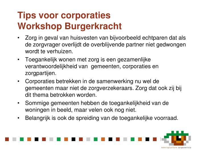Tips voor corporaties