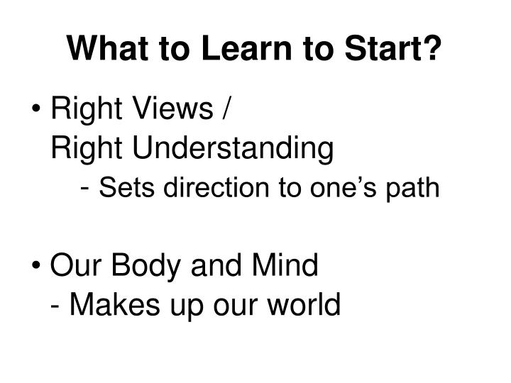 What to Learn to Start?