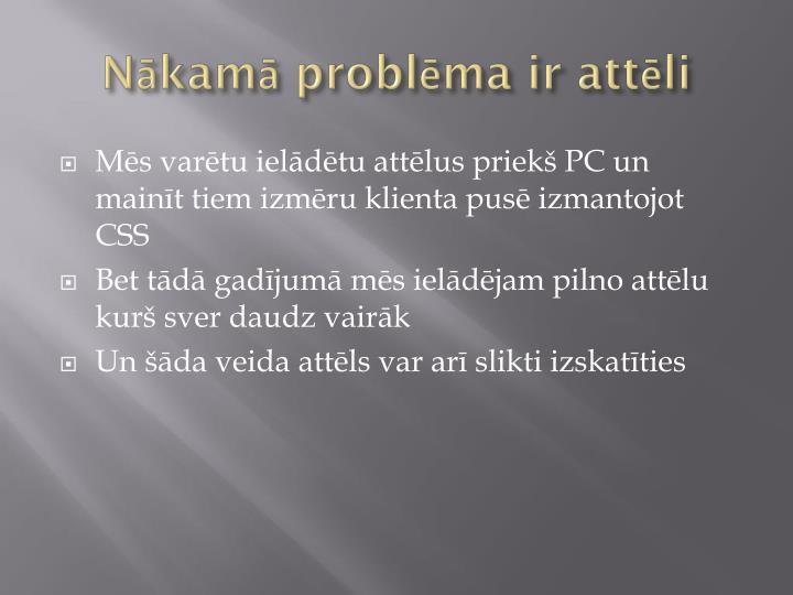 Nākamā problēma ir attēli