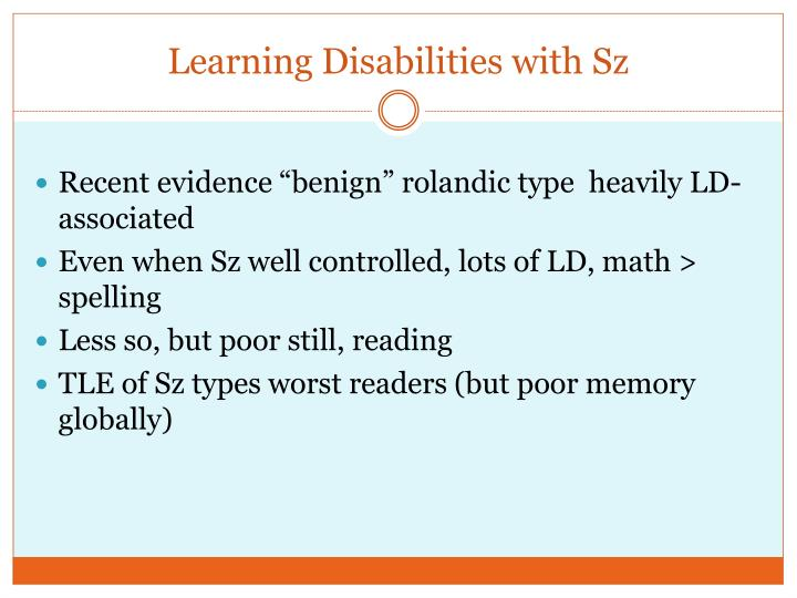Learning Disabilities with Sz