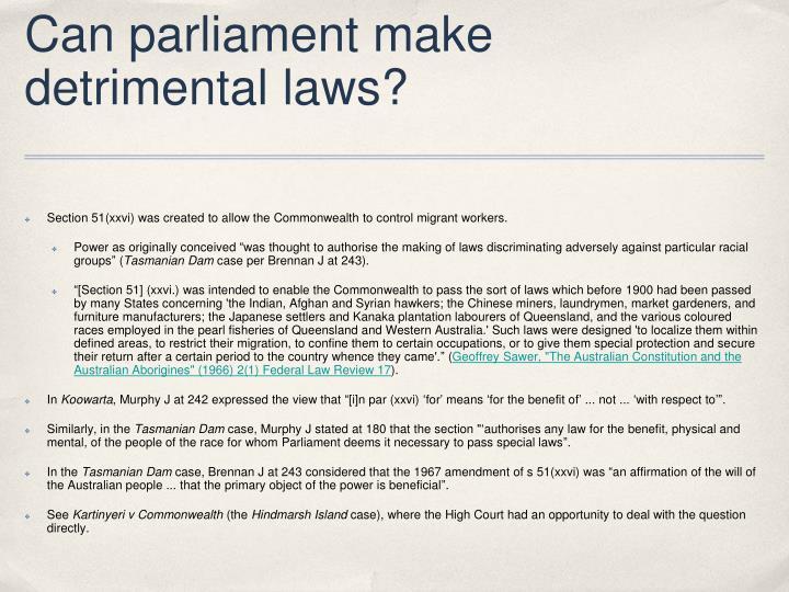 Can parliament make
