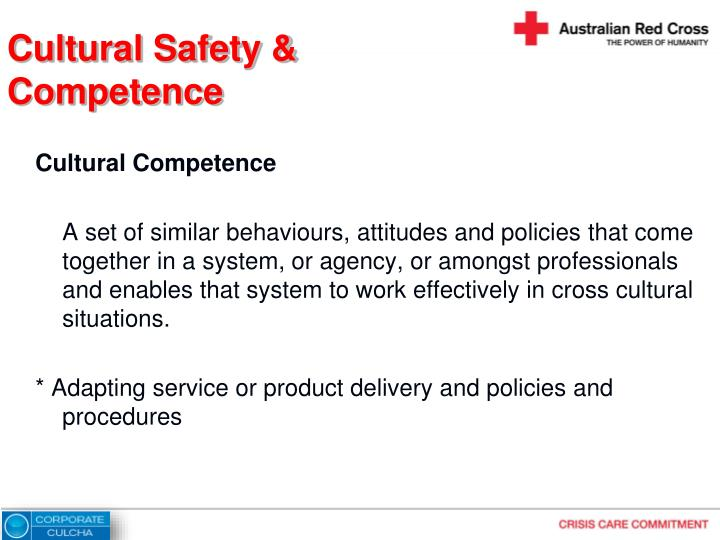 Cultural safety competence