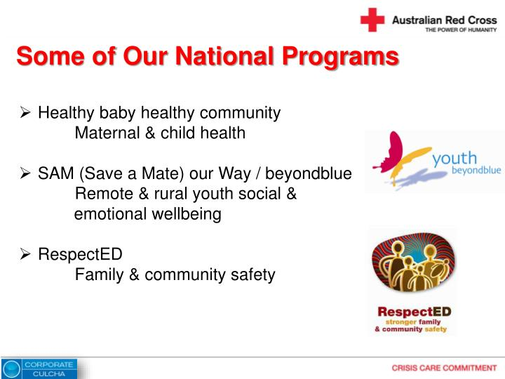 Some of Our National Programs