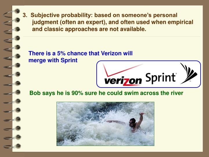 3.  Subjective probability: based on someone's personal