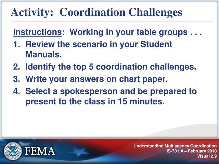 Activity:  Coordination Challenges