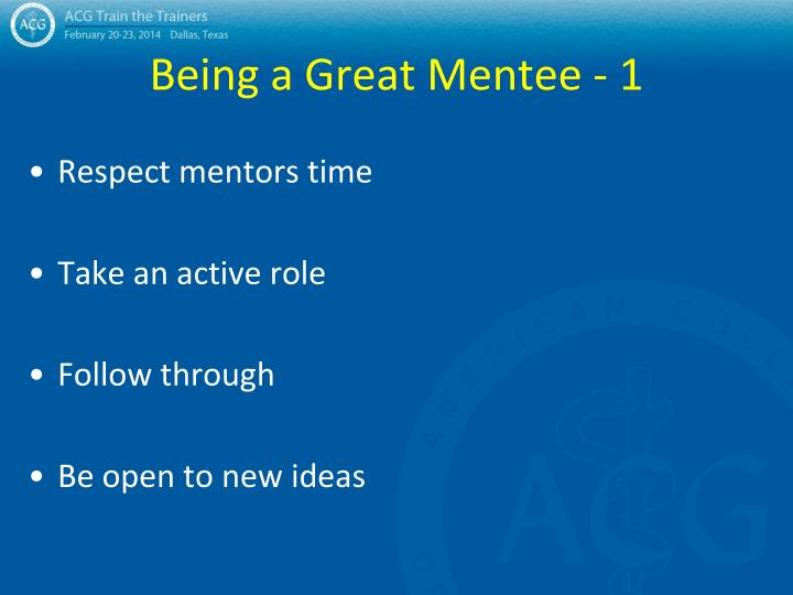 Being a Great Mentee - 1