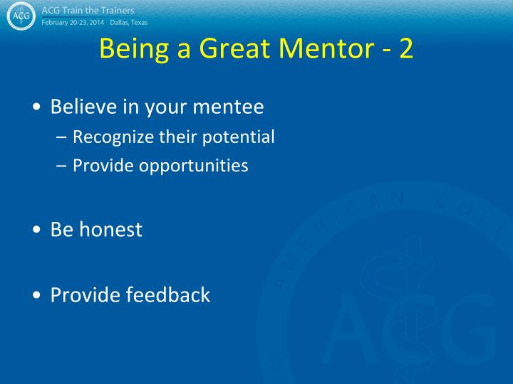 Being a Great Mentor - 2