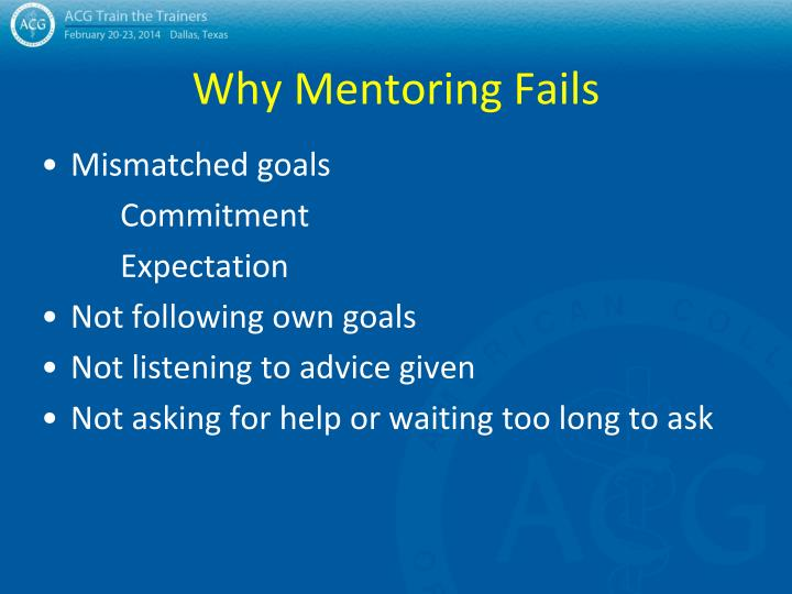 Why Mentoring Fails