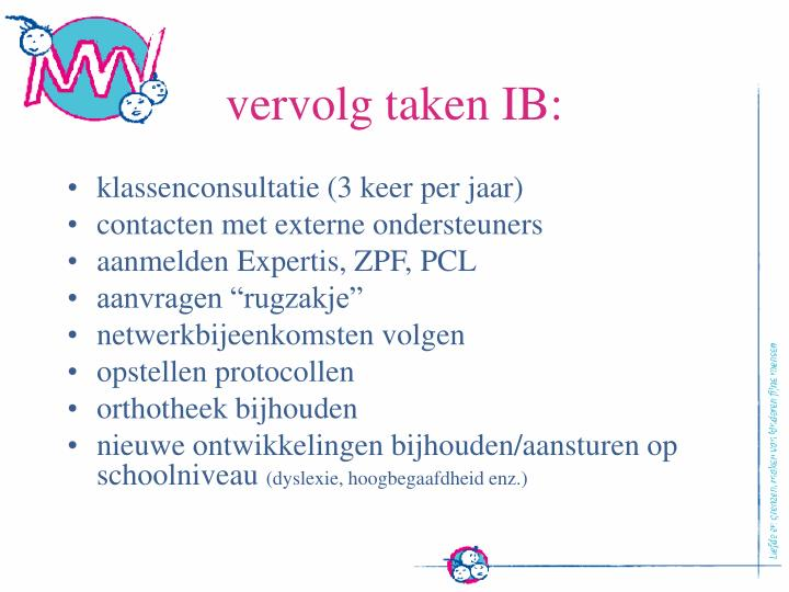 vervolg taken IB:
