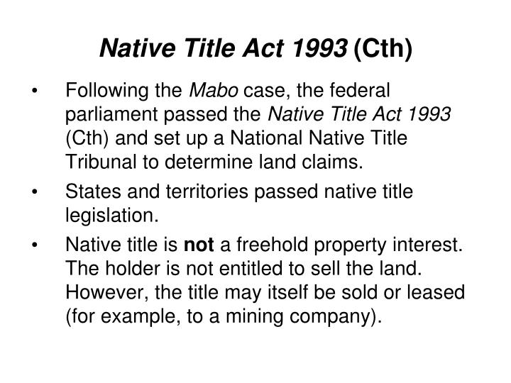 Native Title Act 1993