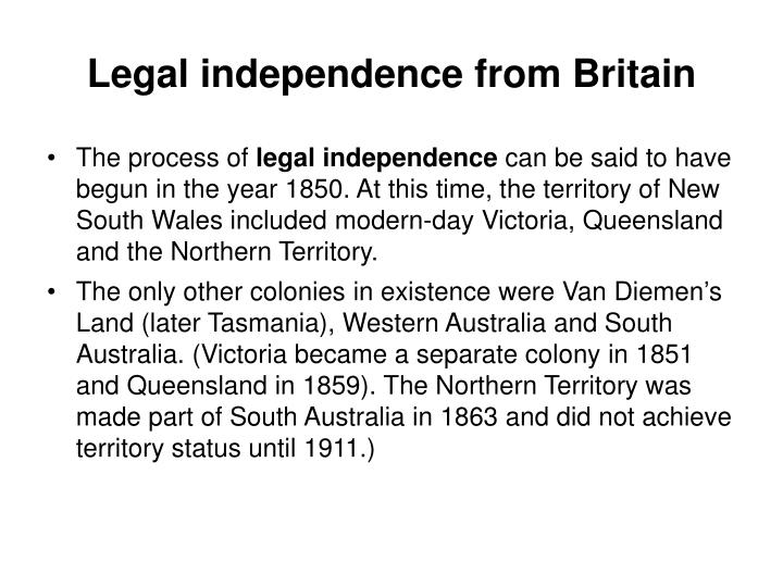 Legal independence from Britain