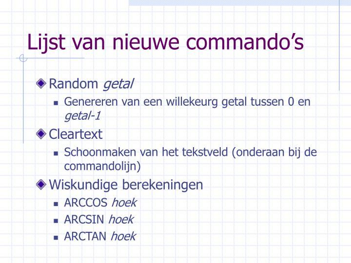 Lijst van nieuwe commando's