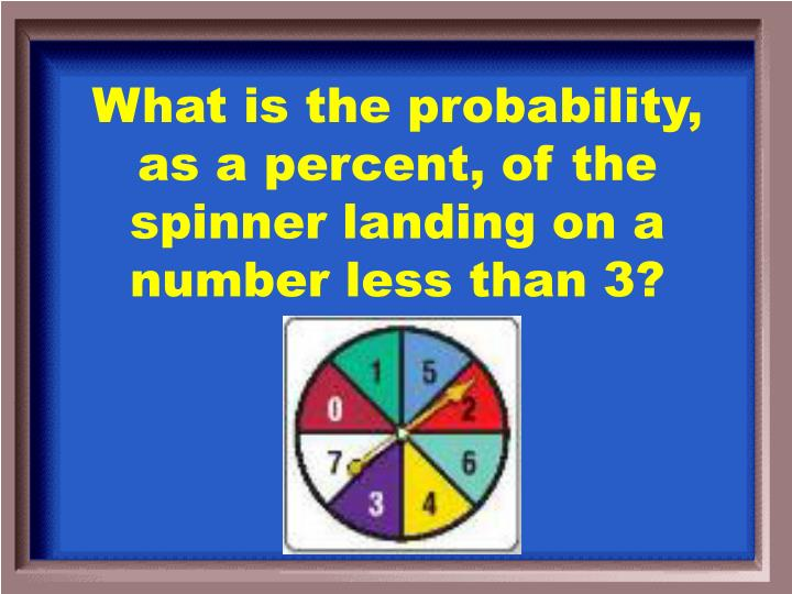 What is the probability, as a percent, of the spinner landing on a number less than 3?