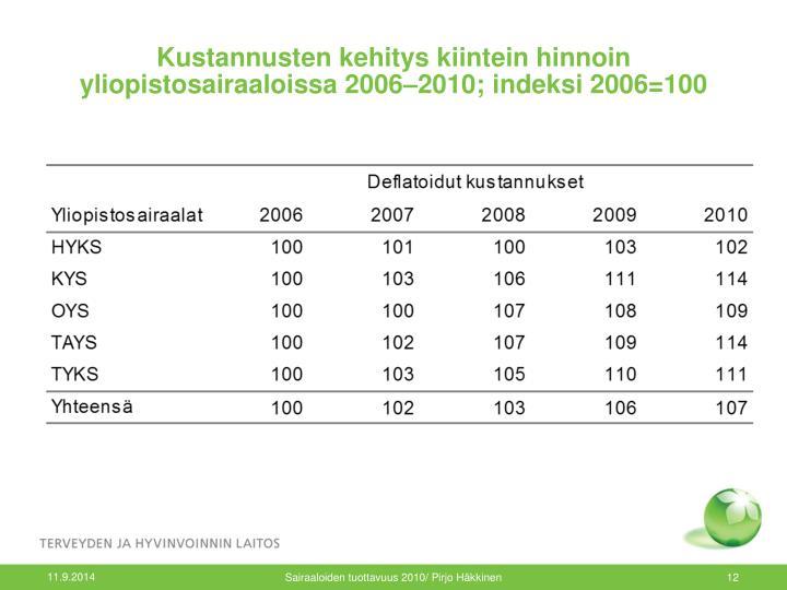 Kustannusten kehitys kiintein hinnoin yliopistosairaaloissa 2006–2010; indeksi 2006=100