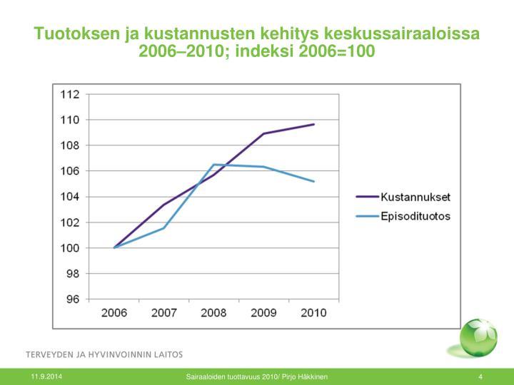 Tuotoksen ja kustannusten kehitys keskussairaaloissa 2006–2010; indeksi 2006=100