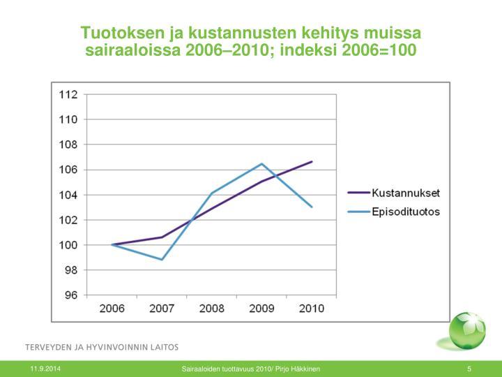 Tuotoksen ja kustannusten kehitys muissa sairaaloissa 2006–2010; indeksi 2006=100