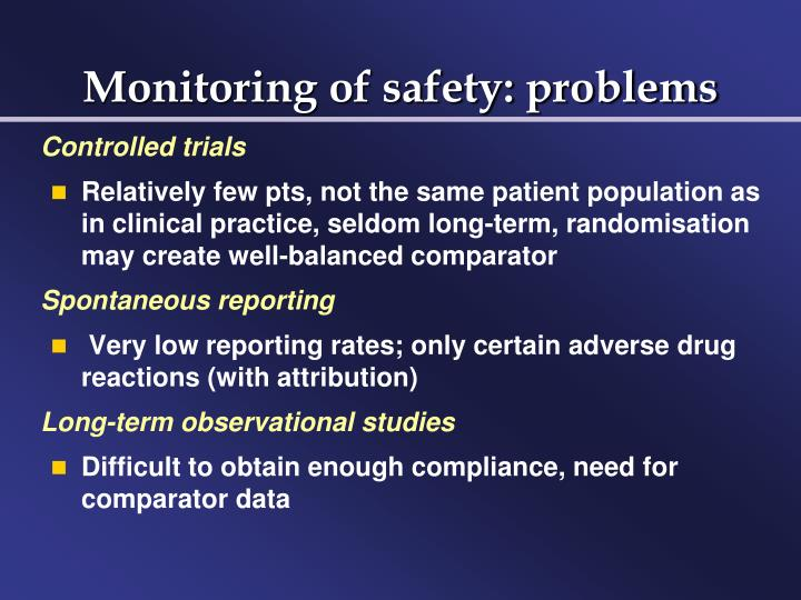 Monitoring of safety: problems