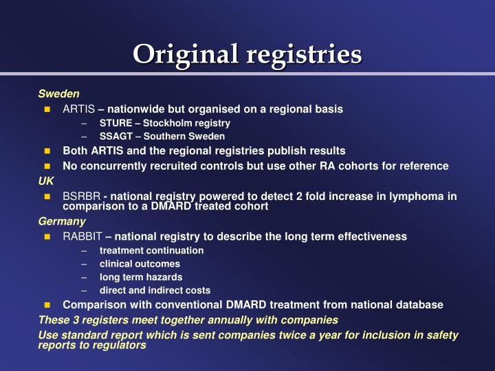 Original registries