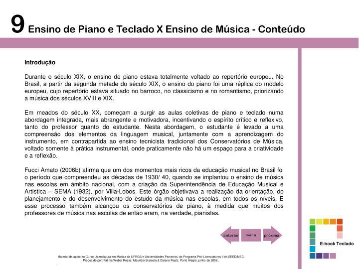 Introdu o hist rico do ensino do piano e do teclado no brasil
