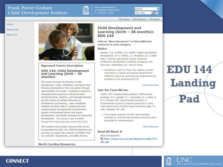 EDU 144 Landing