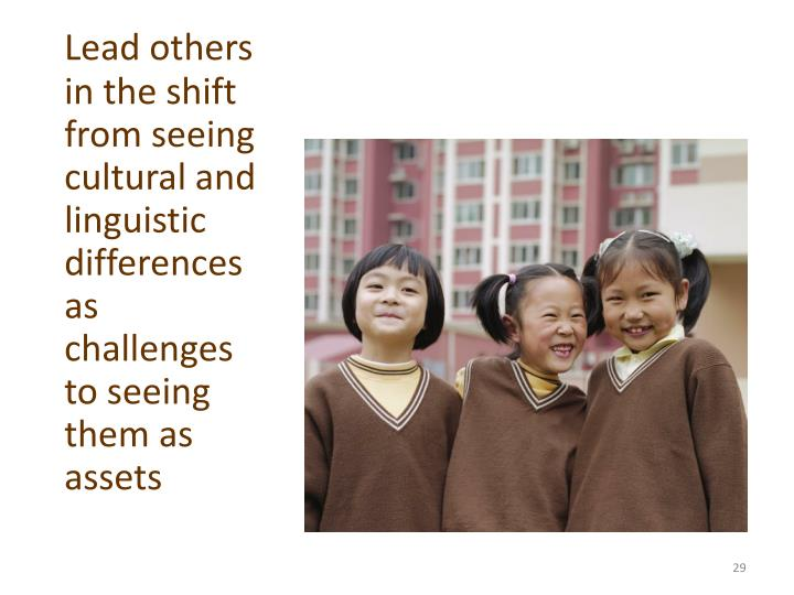 Lead others  in the shift from seeing