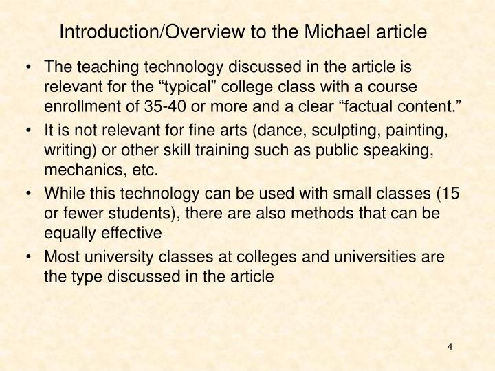 Introduction/Overview to the Michael article