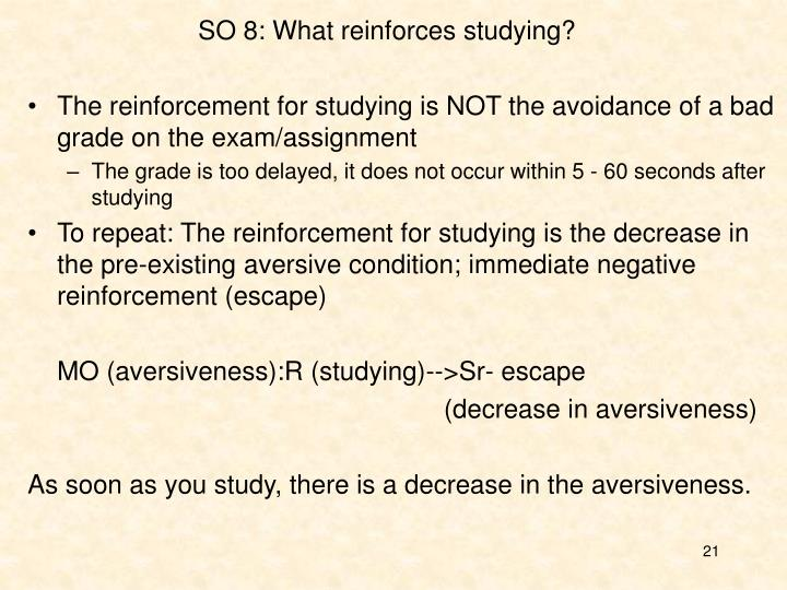 SO 8: What reinforces studying?